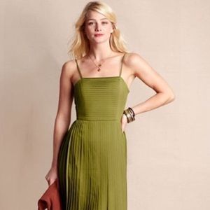 Bright Olive Lands' End pleated cocktail dress